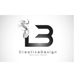 Lb letter logo design with black smoke vector