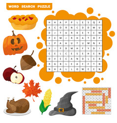 learn english with an autumn word search game for vector image