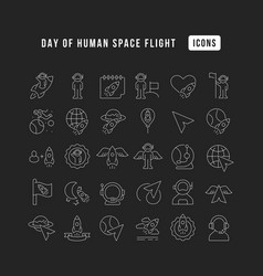 line icons day human space flight vector image