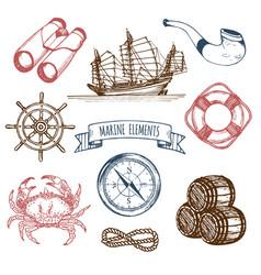 marine set hand sketched sea vector image