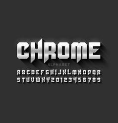 matt chrome style font vector image