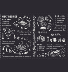 Meat dishes recipes chalk drawing design vector