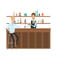 meet and discuss at the bar with good friends flat vector image
