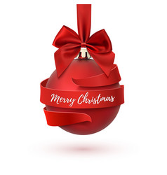 Merry christmas tree decoration with red bow and vector