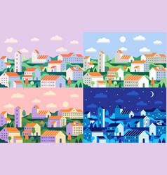 minimal style town geometric minimalist city vector image