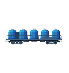 modern railway cisterns freight train side view vector image