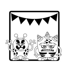 Monochrome frame with monsters and garlands vector