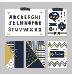 navy blue alphabets and design elements set vector image