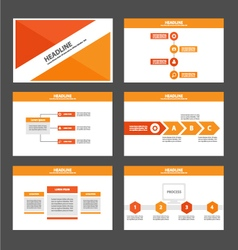Orange red presentation templates Infographic set vector image