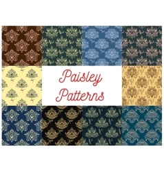 Paisley floral seamless patterns set vector