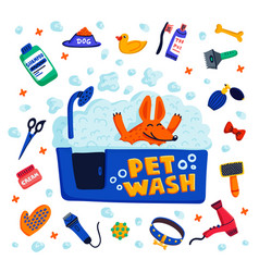 pet grooming concept happy dog in a bath with vector image