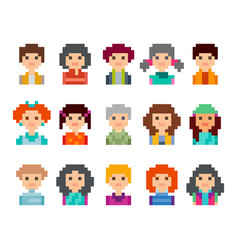 Pixel art style cartoon avatar faces vector