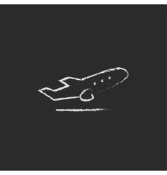 Plane taking off icon drawn in chalk vector