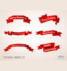 polygonal merry christmas red ribbons collection vector image