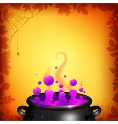 Purple potion in black cauldron on orange vector