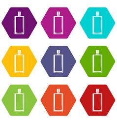 Scent bottle icon set color hexahedron vector
