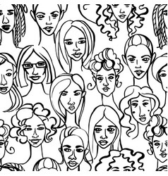 seamless pattern female doodle hand drawn vector image