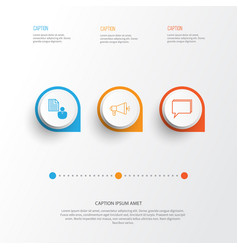 Seo icons set collection media campaign vector