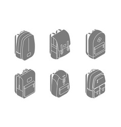 set backpacks isometric icons in 3d design vector image