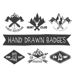 set hand drawn forest camp labels in vector image