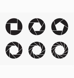 set of black camera lens aperture icons vector image