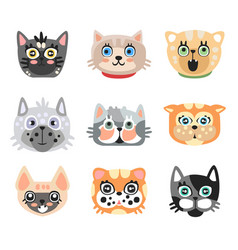 set of cute cartoon cats heads colorful character vector image