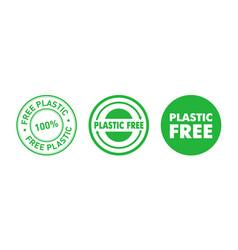 set plastic free green badges eco friendly vector image