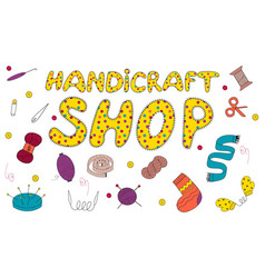 Signboard for a shop of sewing or knitting vector