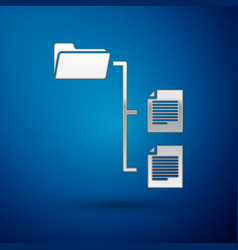 silver folder tree icon isolated on blue vector image