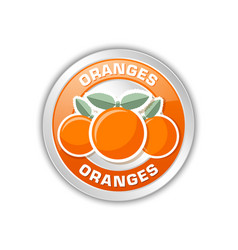 silver metallic badge with three oranges placed vector image