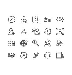simple set head hunting related line icons vector image