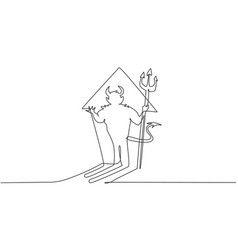 Single one line drawing devil shadow vector