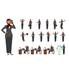smart business arab woman characters creation set vector image