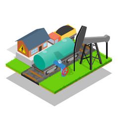 Storage depot concept banner isometric style vector