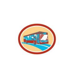 Tourist coach shuttle bus oval retro vector