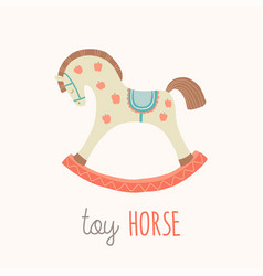 toy horse flash card kids wall art first word vector image