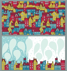 Two backgrounds with colorful houses vector