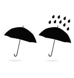 umbrella silhouette and water drop vector image