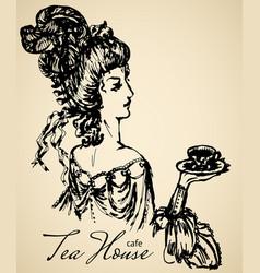 Vintage lady for cafe or restaraunt vector