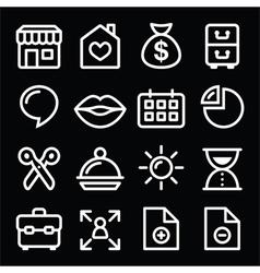 Website menu navigation white line icons on black vector image vector image
