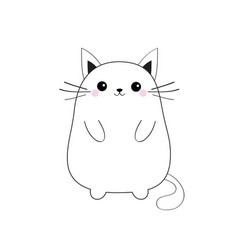 white cute sitting cat baby kitten contour vector image
