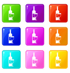 wine bottle and glass icons 9 set vector image