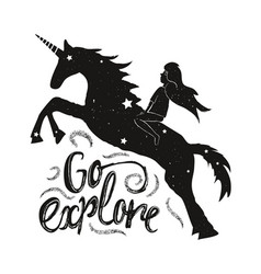 with young girl and unicorn silhouette go explore vector image