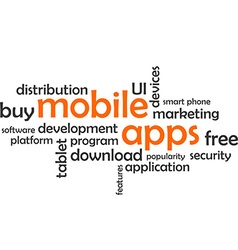 word cloud mobile apps vector image