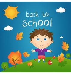 Cartoon of happy little boy in autumn landscape vector image vector image