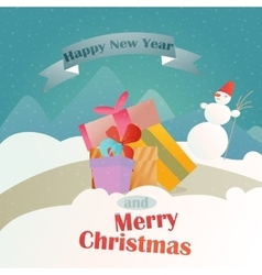 Christmas gifts on the background of a winter vector image