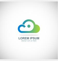 cloud dot technology logo vector image