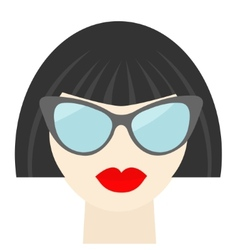 Fashion brunet woman face with sexy red lips vector image