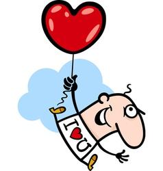 man wit valentine hearth balloon cartoon vector image vector image
