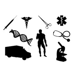 medical objects silhouettes vector image vector image